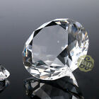 Clear Cut Crystal Diamond Shape Paperweight Glass Gem Display Ornament Gift 40mm
