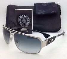 New CHROME HEARTS Sunglasses MOUNT BS 65-14 Silver & Black Frame w/Grey Gradient