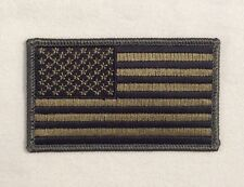 American Flag Patch Embroidered Velcro Hook OD Green United States of America