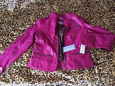NWT WOMENS MARC NEW YORK ANDREW MARC Pink LEATHER JACKET Size L