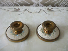 Vintage retro Dressing Table Vanity Brass & Embroidered pair of Candlesticks