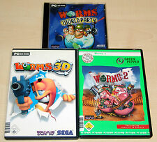 3 PC SPIELE SAMMLUNG - WORMS WORLD PARTY - WORMS 2 - WORMS 3D
