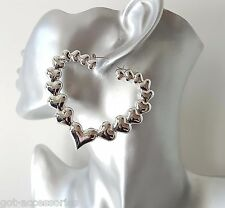 Gorgeous large silver tone oversized acrylic heart shape creole hoop earrings
