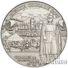 8th Crusade - CHARLES OF ANJOU - Antique Finish Silver Coin 2016 Cook Islands