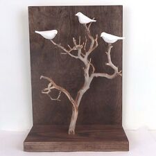 """Hand Carved White Porcelain Birds in Tree Wall Hang Figurine Stiles In Clay 14""""H"""