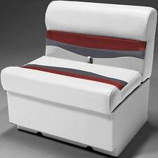 """28"""" Pontoon Boat Bench Seat In Gray, Red and Charcoal"""