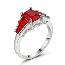 Lady's Jewelry white Filled Red Ruby Crystal Wedding Ring Gift size 6