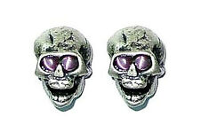 Guitar Parts SKULL KNOBS Set of 2 - SILVER / PINK Eyes