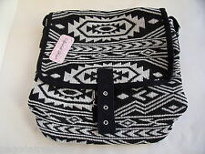 New Over Body Messenger Bag Ethnic Aztec Tapestry Fabric in Black or Pink & Blue