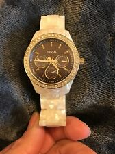 Women's Fossil Pearl White Rhinestone Watch