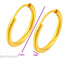 NEW PAIR MEN WOMEN 24K YELLOW GOLD PLATED HOOP EARRINGS 20MM ROUND GOLD HOOPS