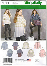 Designer Button Front Shirts Tops Lace Simplicity Sewing Pattern Sz 6 8 10 12 14