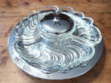 Lazy Susan Servimg Tray, Mid-Century, Chrome with Glass Serving Bowls
