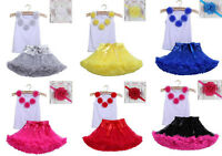 3pcs Kids Baby Girl Children Headband+Top+Skirt T-shirt Tutu Clothing Outfit Set