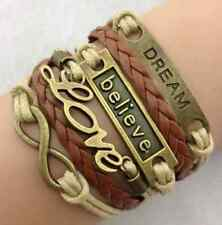 Infinity Love Anchor Believe Dream Bronze Leather Charm beaded Bracelet one hs