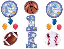 BOY'S 1st FIRST BIRTHDAY PARTY BALLOONS ALL STAR SPORTS Decorations Supplies