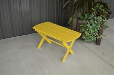 Yellow Pine Outdoor Folding Coffee Table Amish Made USA - Canary Yellow  Paint