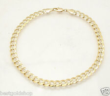 "10"" Diamond Cut Curb Cuban Chain Ankle Bracelet Anklet Real 14K Yellow Gold"