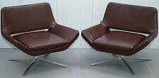 PAIR OF JEFFREY BERNETT £6370 ME84 B&B ITALIA METROPOLITAN LEATHER ARMCHAIRS