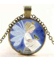 Vintage Fairy and Frog Photo Cabochon Glass Bronze Chain Pendant Necklace
