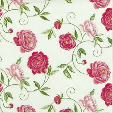 4x Single Table Party Paper Napkins for Decoupage Decopatch Craft Peony Pink