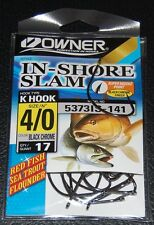 Owner 5373IS-141 In Shore Slam Size 4/0  K Hooks 17 pack Flounder Red Fish Trout