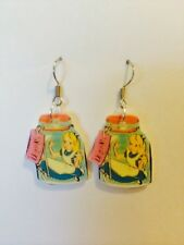 Alice In Wonderland Bottle Earrings HANDMADE PLASTIC CHARMS Mad Hatter Disney