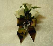 Wedding Party Redneck Camo Bow Deer Hunter Huntin Groom's Boutonniere Silk Roses