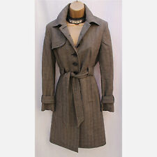Karen Millen Tailored Brown Dogtooth Longline Posh Mac Coat Jacket 8 UK