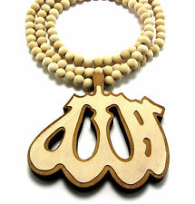 """WOODEN ALLAH ISLAM MUSLIM PENDANT PIECE 36"""" CHAIN BEAD NECKLACE GOOD WOOD STYLE"""