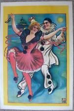 BEAUTIFUL ORIGINAL 1910 POSTER - PIERROT & DANCING GIRL
