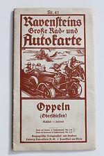 6944 Ravensteins Rad u. Autokarte Oppeln Oberschlesien Landkarte um 1925