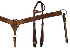 Showman Basket Weave Tooled Leather One Ear Headstall Breastcollar Set NEW TACK