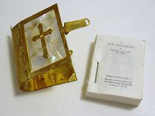 """The New Testament in Brass Holder ca1980s  London  Miniature Booklet 1 3/4"""" Tall"""