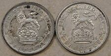 Great Britain 1925 + 1926 Six Pence Better Grade Coins