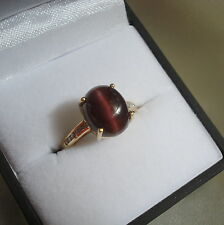 4.22ct Rare Cat's Eye Scapolite & Diamond Gold Ring
