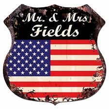 BPLU0264 America Flag MR. & MRS FIELDS Family Name Sign Decor Wedding Gift Ideas