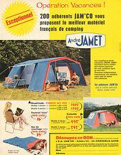 Publicité 1970  André JAMET tente camping vacances sac de couchage fauteuil