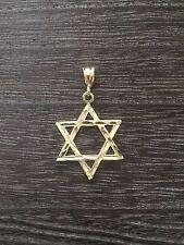 14KT GOLD STAR OF DAVID DESIGNER ETCHED FINISH PENDANT CHARM