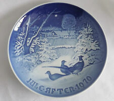 "Bing & Grondahl  1970 Christmas Plate ""Pheasants in the snow at Christmas"" NB"