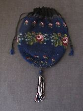 ANTIQUE FLOWERS & LEAVES MICRO BEADED DRAWSTRING PURSE WITH TASSEL