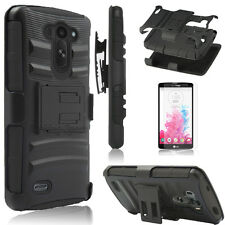 Hybrid Rugged Holster Belt Clip Stand Case Cover For LG G Vista D631 VS880 &Film
