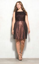 New Lovely by Adrianna Papell Jacquard Lace Fit & Flair Metallic Dress sz 14