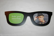 WOOD Dual Picture PHOTO FRAME holds TWO 3.5x4.5 pictures FUNKY GLASSES Black
