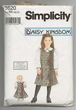 "SIMPLICITY 0620 DAISY KINGDOM GIRLS JUMPER BLOUSE 18"" DOLL DRESS PATTERN SZ 5-8"