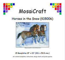MosaiCraft Pixel Craft Mosaic Kit 'Horses in the Snow' (Incl. Dove Tail Clips)