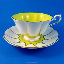Royal Albert Bright Yellow and White Star Design Tea Cup and Saucer Set