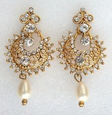 Ethnic Indian Small Bollywood Royal Gold Pearls Handmade Jewellery Earrings