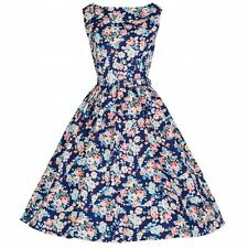 NEW VINTAGE 50'S STYLE AUDREY DARK BLUE FLORAL SWING PARTY DRESS SIZE 16