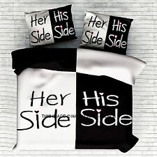 His and Her Side Black / White Double Bed Size Duvet Quilt Cover Bedding Set